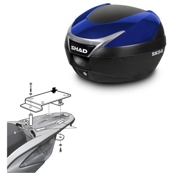 Baul Shad SH34 azul Honda SH125 Scoopy
