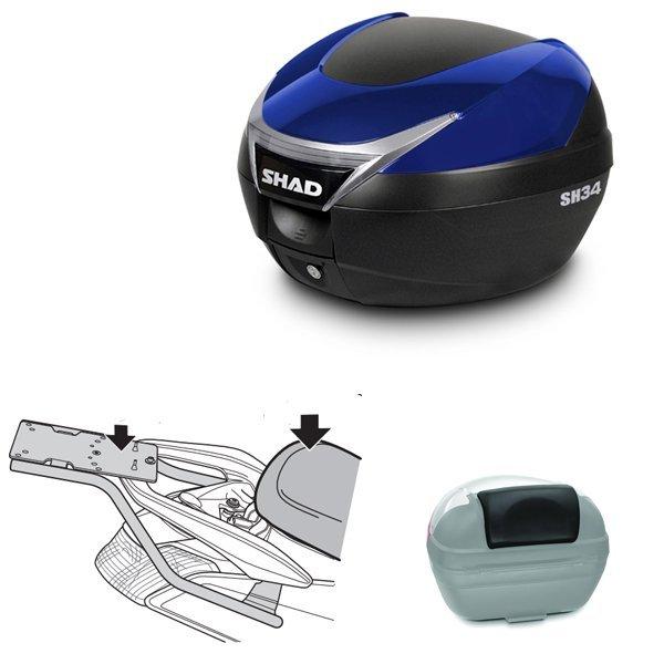 Baul Shad SH34 azul Nmax 125 con respaldo