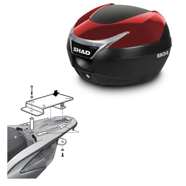 Baul Shad SH34 rojo Honda SH125 Scoopy