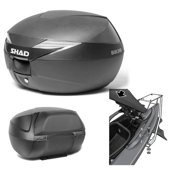 Baul Shad SH39 Yamaha Tmax 530 con respaldo