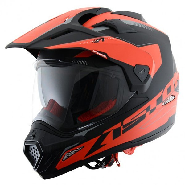 Casco Astone Cross Tourer Aventure Negro Rojo