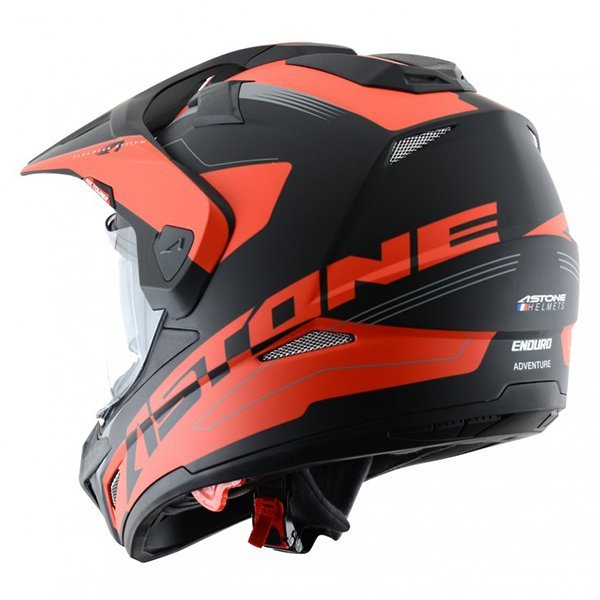 Casco Astone Cross Tourer Aventure Negro Rojo2