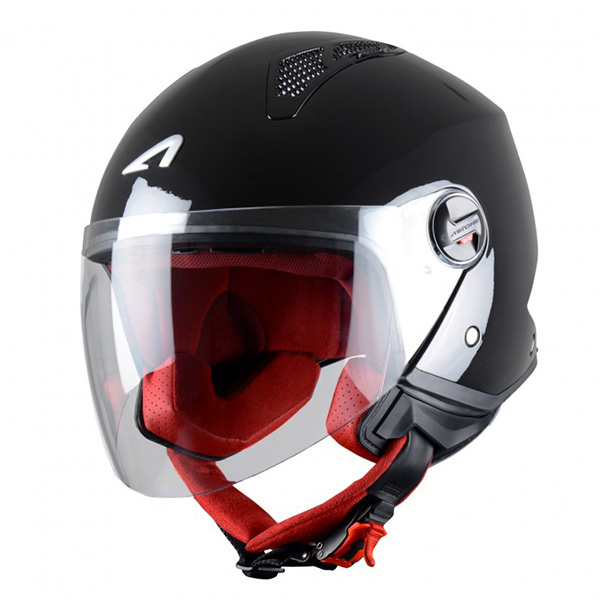 Casco Astone MiniJet Negro Brillo