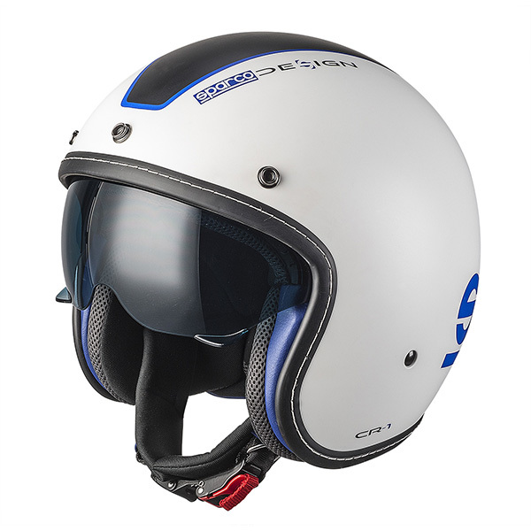 Casco Cafe Racer Sparco Cr-1 Blanco Azul