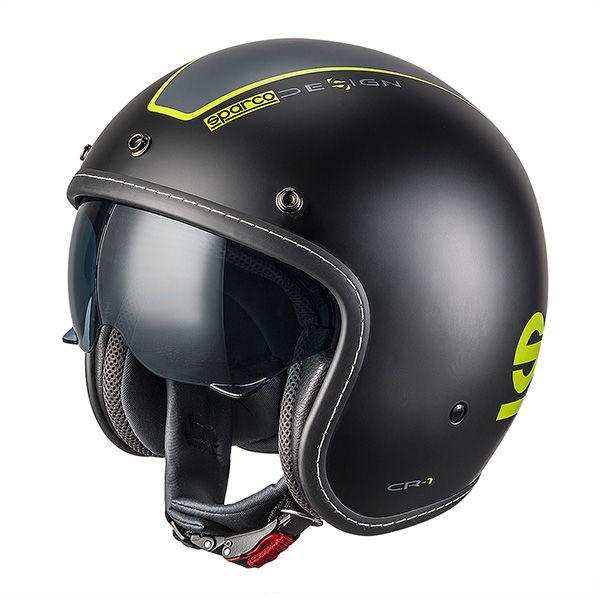 Casco Cafe Racer Sparco Cr-1 Negro Verde2
