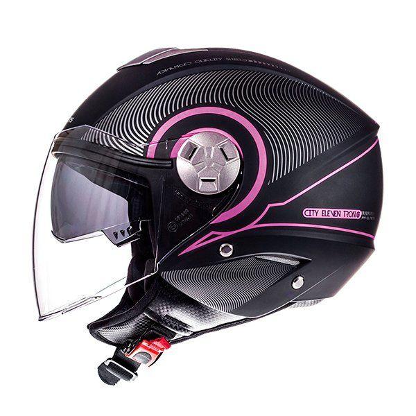 Casco MT City Eleven SV Tron negro rosa