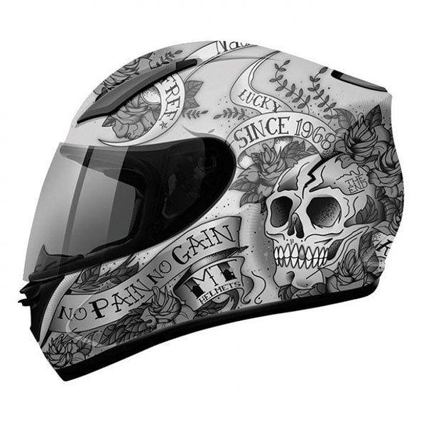 Casco MT Revenge Skull & Rose Gris negro
