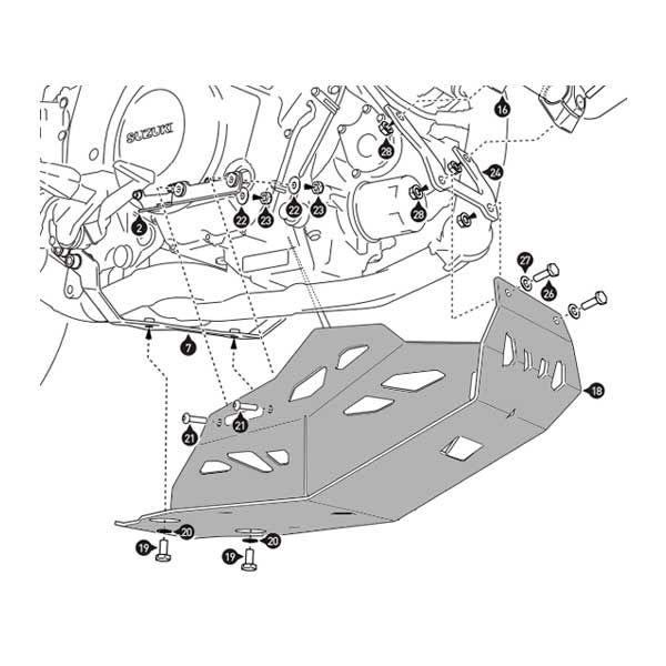 Cubrecarter SW Motech Vstrom 1000 2014 sin defensa